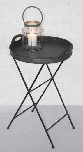 Tall Round Metal Tray Table